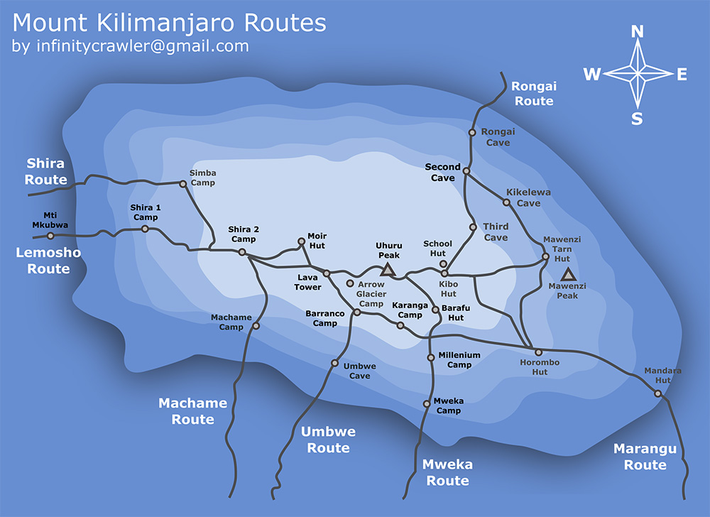 Mt Kilimanjaro On World Map.Mt Kilimanjaro Shira Route